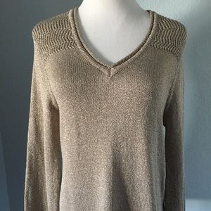 Democracy Gold Metallic V-Neck Sweater Size Small
